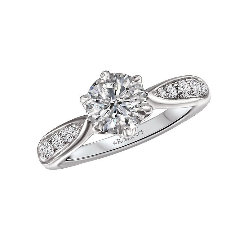 Signature Collection 14k White Gold Tapered Band Engagement Ring Mounting