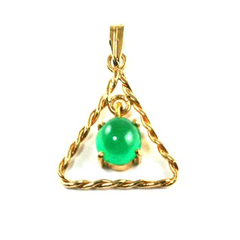 Genuine Colombian Emerald Pendant in 18k Yellow Gold - 946
