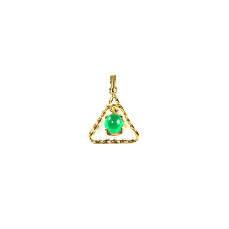 Signature Collection Genuine Colombian Emerald Pendant in 18k Yellow Gold - 946