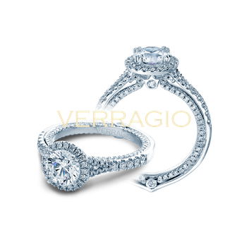 Verragio Couture 0424 DR - 14k White Gold Round Halo Diamond Engagement Ring by Verragio with an inner shank of Diamonds