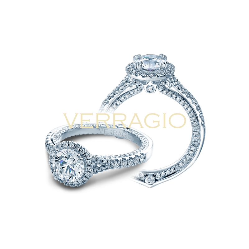 Verragio Verragio Couture 0424 DR - 14k White Gold Round Halo Diamond Engagement Ring by Verragio with an inner shank of Diamonds
