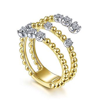 14k White & Yellow Gold Bypass Diamond Ring by Gabriel NY