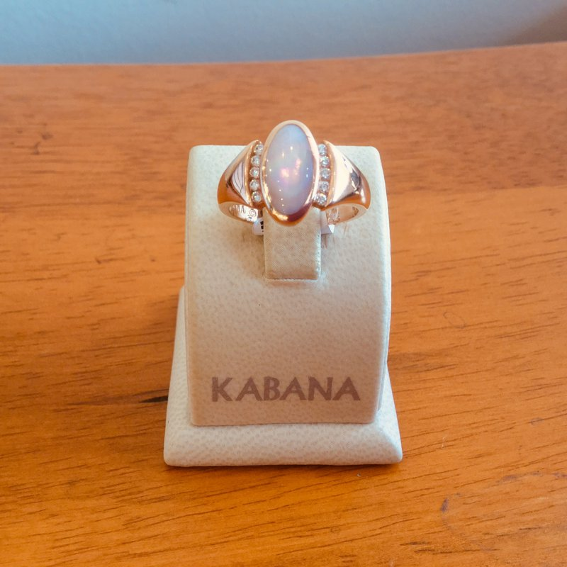 Kabana Jewelry Pink Mother of Pearl Inlay & Ring in 14k Rose Gold - #33967