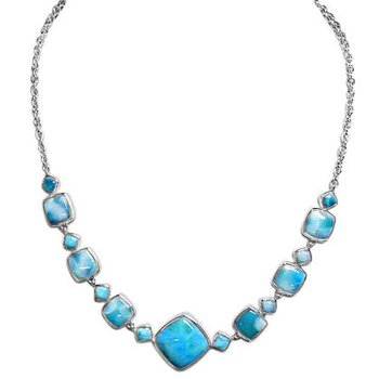 Alamea Sterling Silver Necklace with Geometric Shaped Larimar