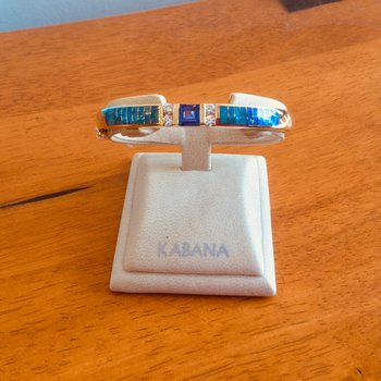 Kabana Square Cut Tanzanite, Australian Opal and Diamond Bangle Bracelet