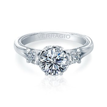 Verragio Renaissance 949-R7 14k White Gold 3-Stone Engagement Ring
