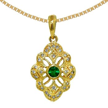 14k Yellow Gold Genuine Emerald & Diamond Vintage Style  Pendant - 6403E
