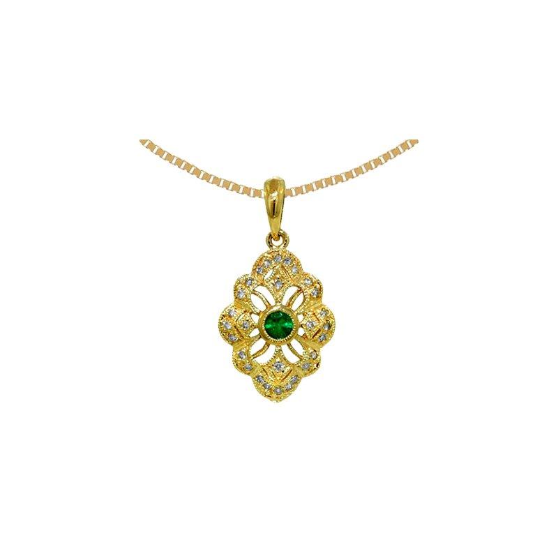 Signature Collection 14k Yellow Gold Genuine Emerald & Diamond Vintage Style  Pendant - 6403E