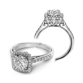 Verragio Couture-0433DCU - 14k White Gold Cushion Halo Diamond Engagement Ring by Verragio