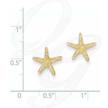 Quality Collection Sealife 14k Yellow Gold Starfish Earrings