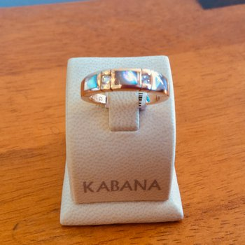 Kabana 14k Rose Gold Ring with inlaid Pink Mother of Pearl and Diamond - #34111