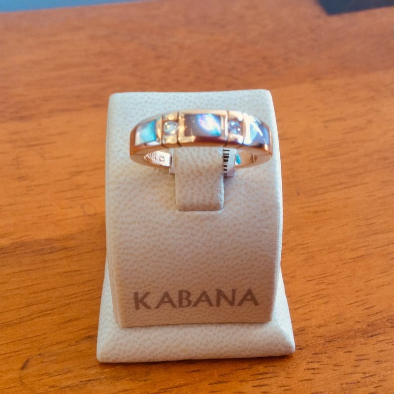 Kabana Jewelry Kabana 14k Rose Gold Ring with inlaid Pink Mother of Pearl and Diamond - #34111