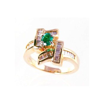 Genuine Emerald and Diamond Ring in 14k Yellow Gold - 31463