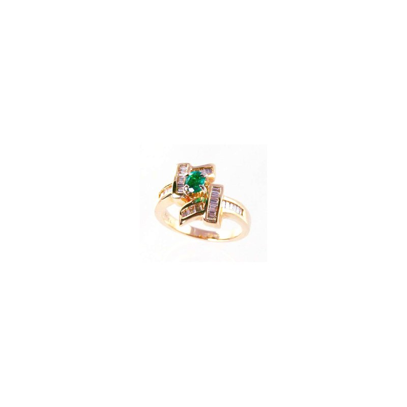 Signature Collection Genuine Emerald and Diamond Ring in 14k Yellow Gold - 31463