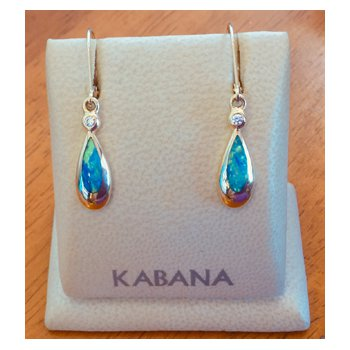 Kabana Australian Opal Inlay and Diamond Dangle Earrings