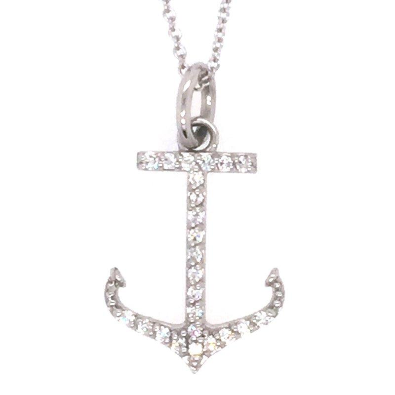 Sealife Jewelry 14k White Gold Diamond Anchor Pendant