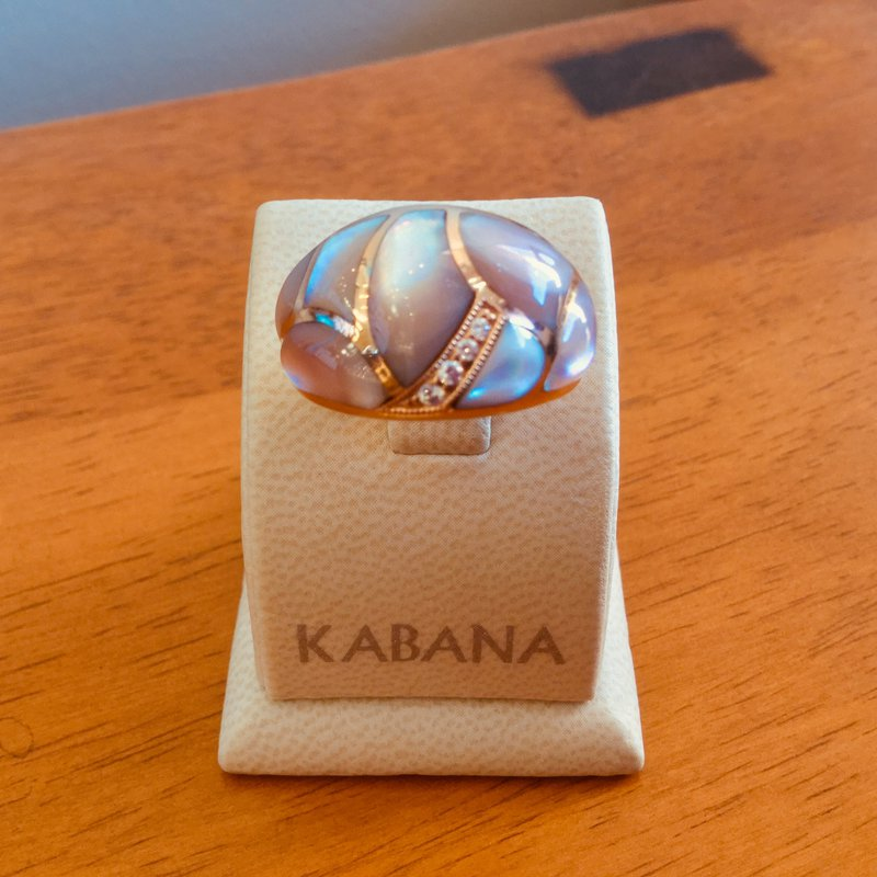 Kabana Jewelry Kabana 14k Rose Gold Ring with inlaid Pink Mother of Pearl & Diamond - #34109