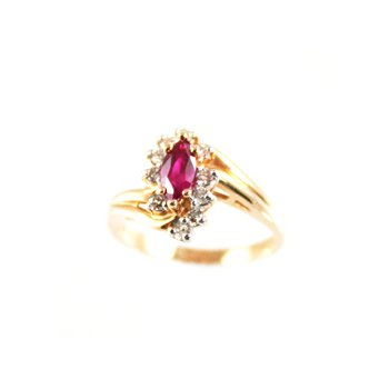 Genuine Ruby and Diamond Ring in 14k Yellow Gold - 16729