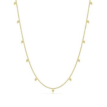 14k Yellow Gold Diamond Station Necklace by Gabriel NY - Style #NK5786-24Y