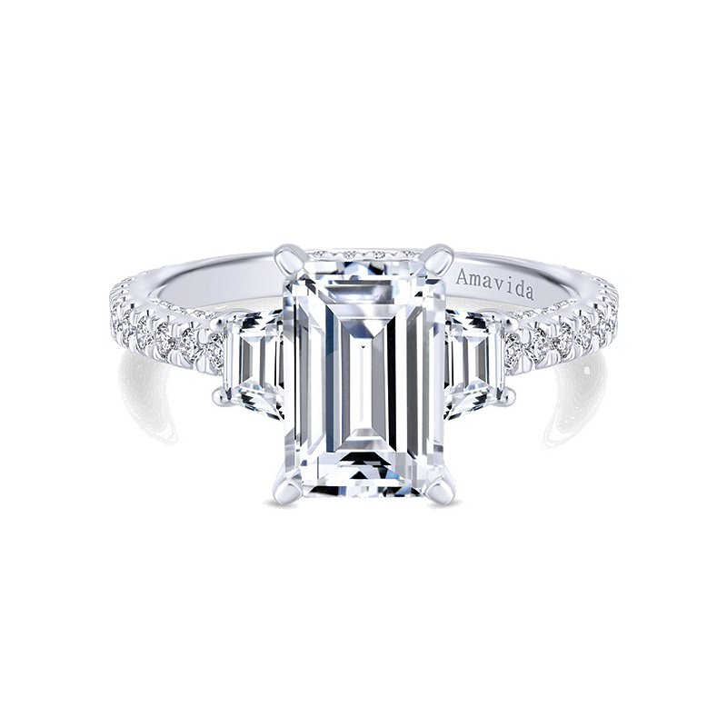 Gabriel NY Platinum Emerald Cut and Trapezoid Diamond Engagement Ring Mounting from the Amavida Collection by Gabriel NY