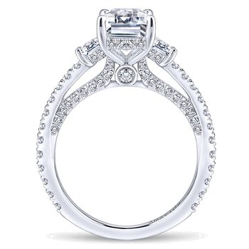 Platinum Emerald Cut and Trapezoid Diamond Engagement Ring Mounting from the Amavida Collection by Gabriel NY