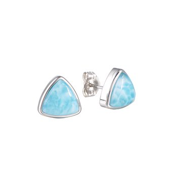 Sterling Silver 10mm Triangle Larimar Studs