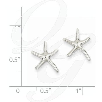 Quality Collection Sealife 14k White Gold Dancing Starfish Earrings
