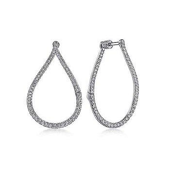 14k White Gold Inside Outside Diamond Hoop Earrings by Gabriel NY