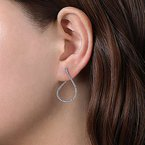 Signature Collection 14k White Gold Inside Outside Diamond Hoop Earrings by Gabriel NY
