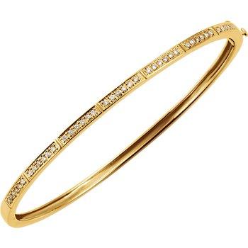 14k Yellow Gold Diamond Bangle Stack Bracelet - ELI64187SS