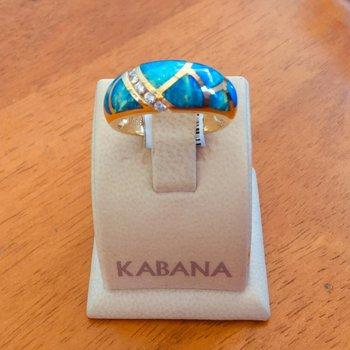 Kabana 18k Yellow Gold Australian Opal and Diamond Ring - #34306