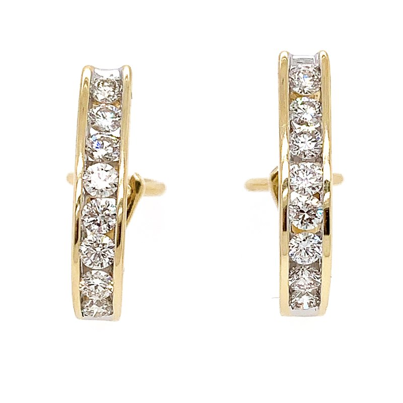 Signature Collection 14k Yellow Gold Channel Set Hoop Earrings with Omega Backs