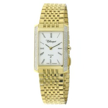 Classsique' Ladies Stainless Steel Gold Plate Diamond Set Watch - #28-126GD