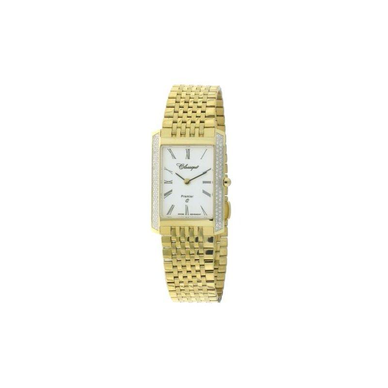 Swiss Watches Classsique' Ladies Stainless Steel Gold Plate Diamond Set Watch - #28-126GD