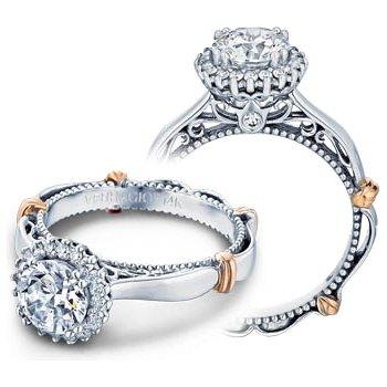 Verragio Parisian-118R - 14k White and Rose Gold Diamond Halo Engagement Ring by Verragio