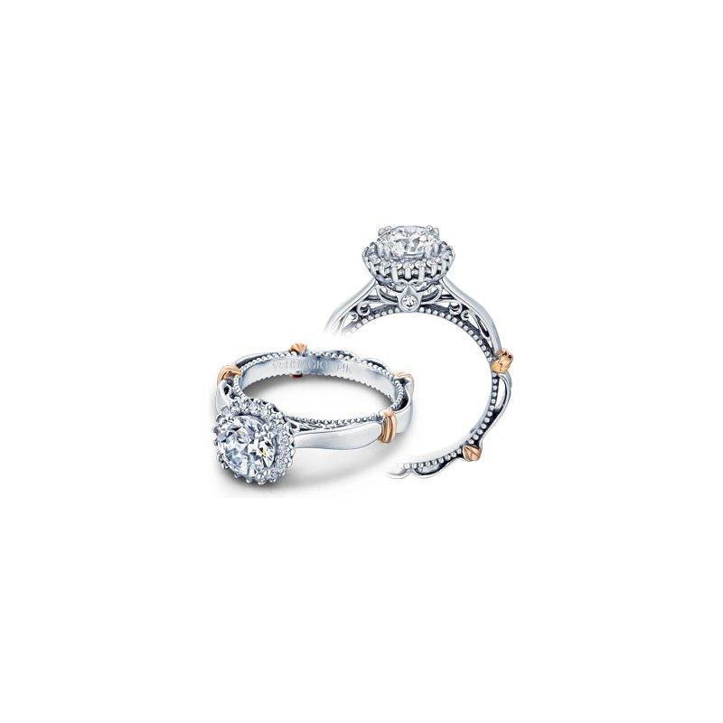 Verragio Verragio Parisian-118R - 14k White and Rose Gold Diamond Halo Engagement Ring by Verragio