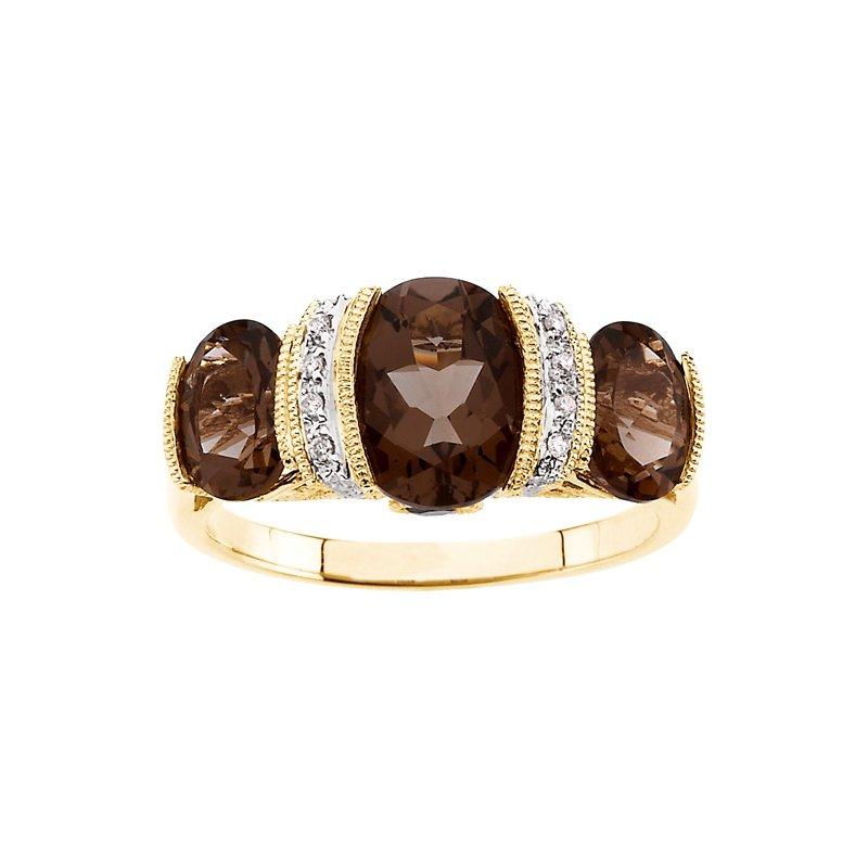Signature Collection Genuine Smoky Quartz & Diamond Ring