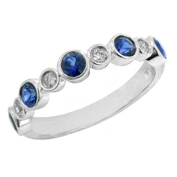 Ladies 14k White Gold Sapphire and Diamond Wedding Ring or Anniversary Band - #37149