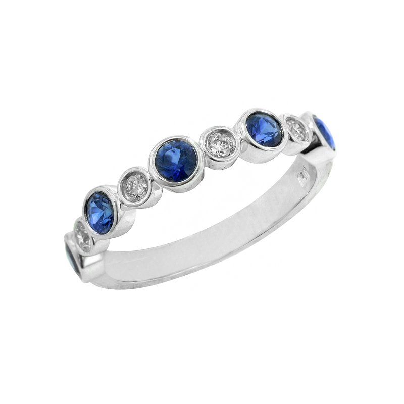 Signature Collection Ladies 14k White Gold Sapphire and Diamond Wedding Ring or Anniversary Band - #37149