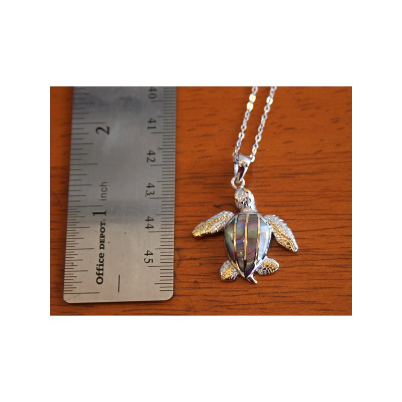 Kovel Sealife Sterling Silver and Gold Plate Turtle Pendant with Brown Mother of Pearl