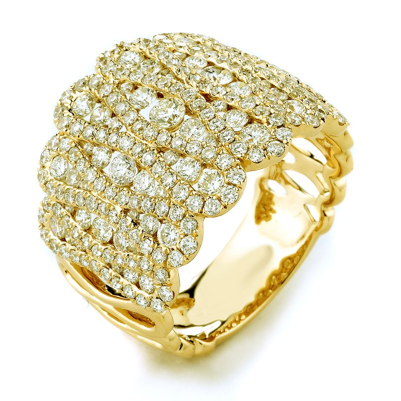 Signature Collection 18k White Gold Scalloped Diamond Fashion Ring