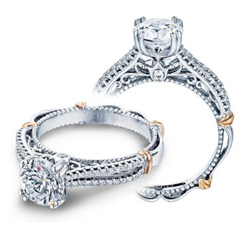 Verragio Parisian-108 - 14k White and Rose Gold Split Shank Diamond Engagement Ring by Verragio