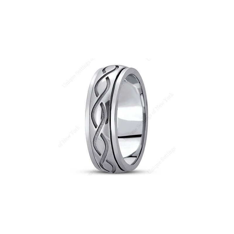 Unique Settings Unique Settings HM284 - Y - W - 14k Yellow and White Gold Handmade Celtic Design 7mm Men's Wedding Band