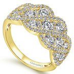 Signature Collection 14k Yellow Gold Woven Diamond Statement Ring by Gabriel NY