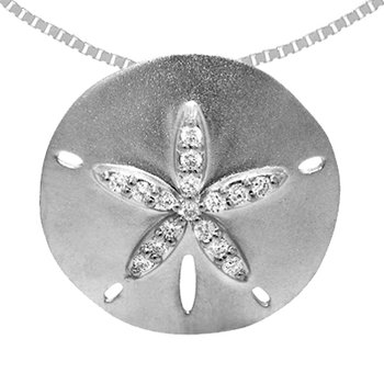 14k White Gold Diamond Sand Dollar Pendant