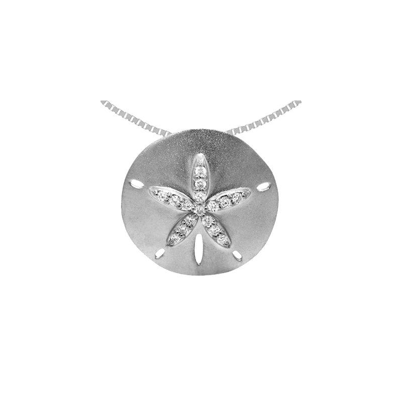 Sealife Jewelry 14k White Gold Diamond Sand Dollar Pendant