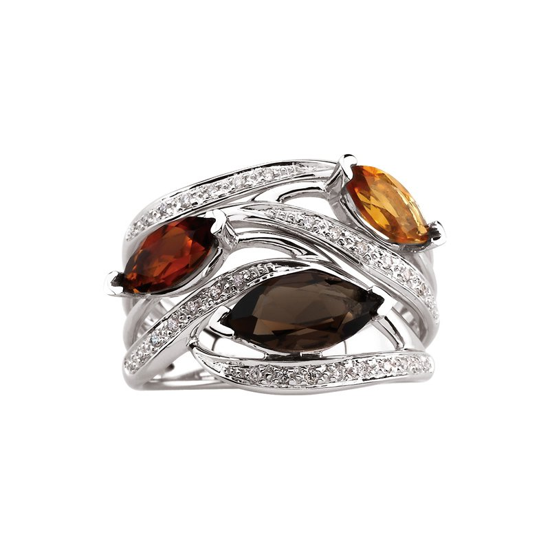 Signature Collection Genuine Smoky Quartz, Madeira Citrine & Citrine Ring