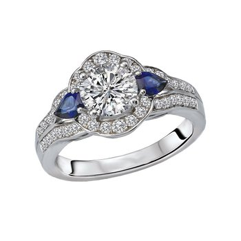14k White Gold Halo Engagement Ring with Sapphires and Diamonds