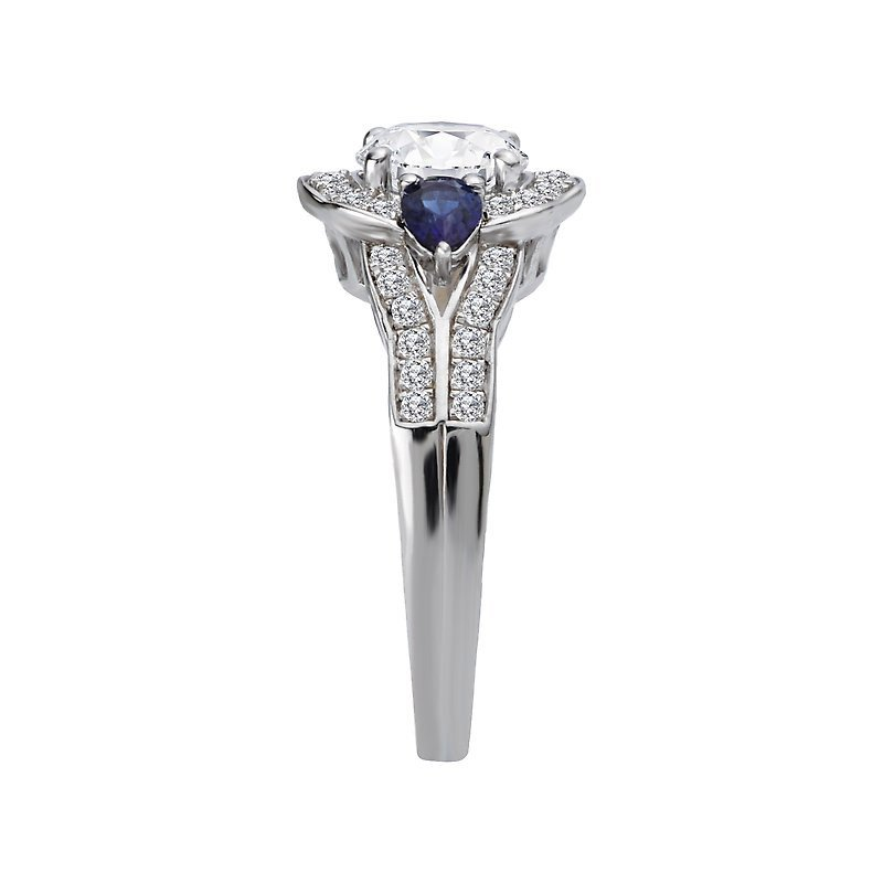 Signature Collection 14k White Gold Halo Engagement Ring with Sapphires and Diamonds