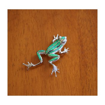 Sterling Silver Jumping Frog Pendant with Kyocera Lab Created Synthetic Opal